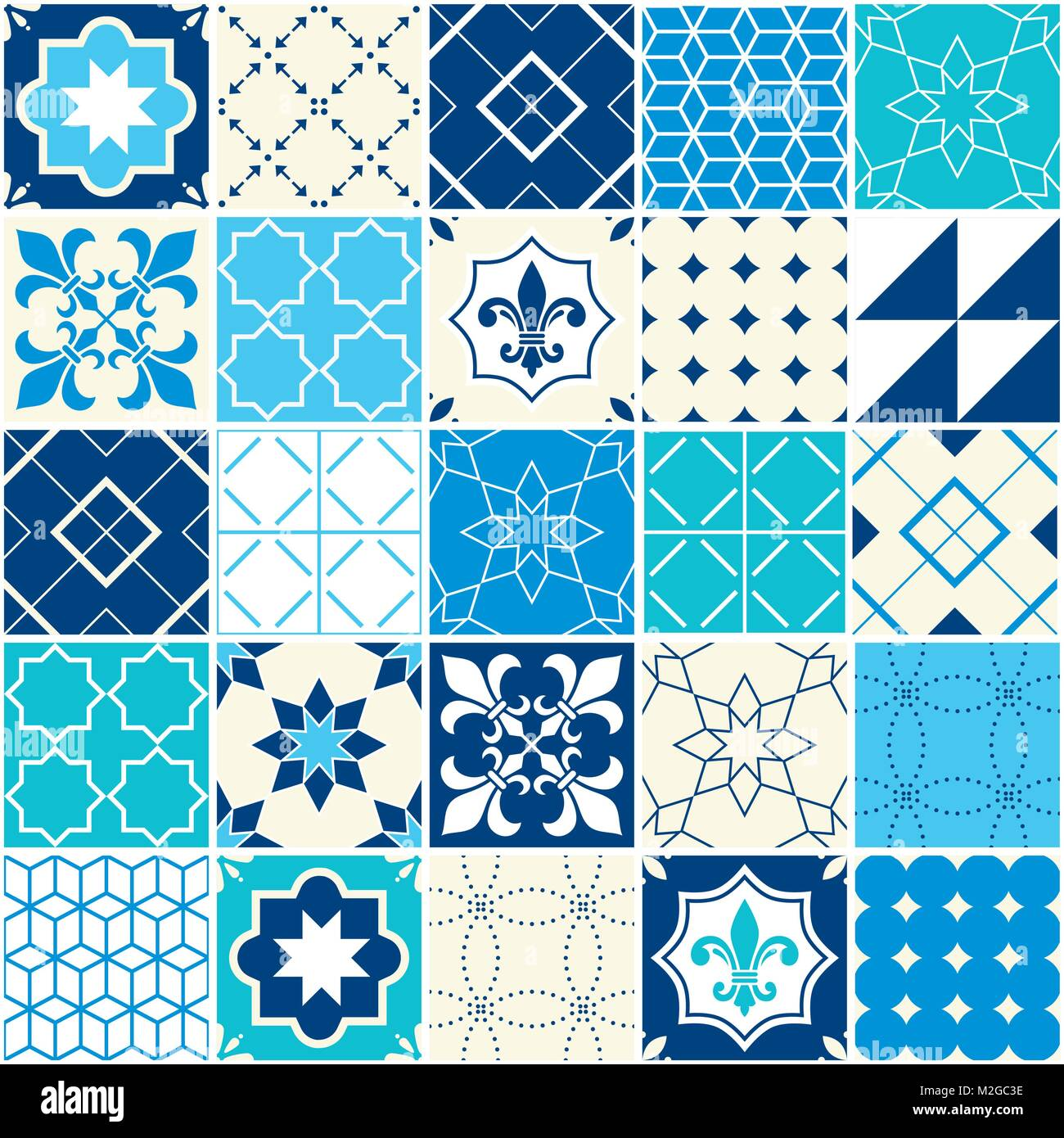 Seamless blue vector tile pattern, Azulejos tiles, Portuguese geometric and floral design - colorful - Stock Vector