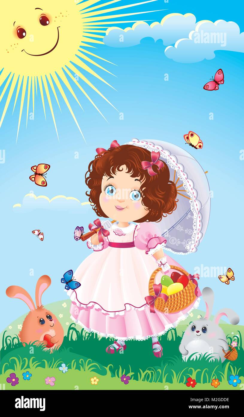 Easter Greeting Card With Cute Little Girl On An Egg Hunt Stock