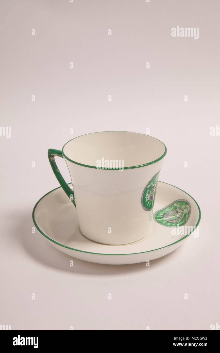 Suffragette tea cup and saucer with the WSPU roundel, designed by Sylivia Pankhurst. - Stock Image