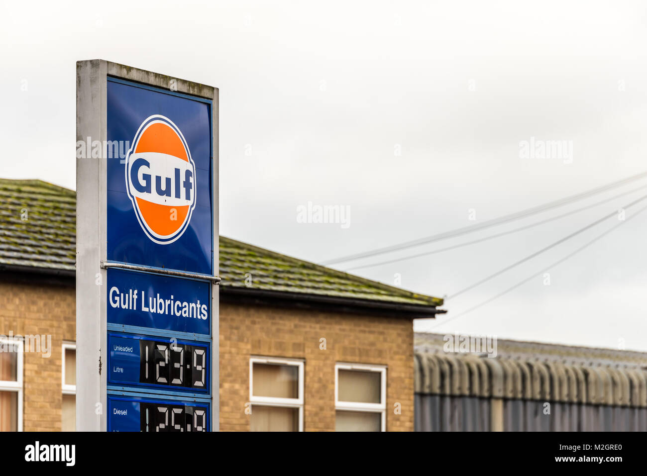 Northampton UK January 05, 2018: Gulf logo sign stand on