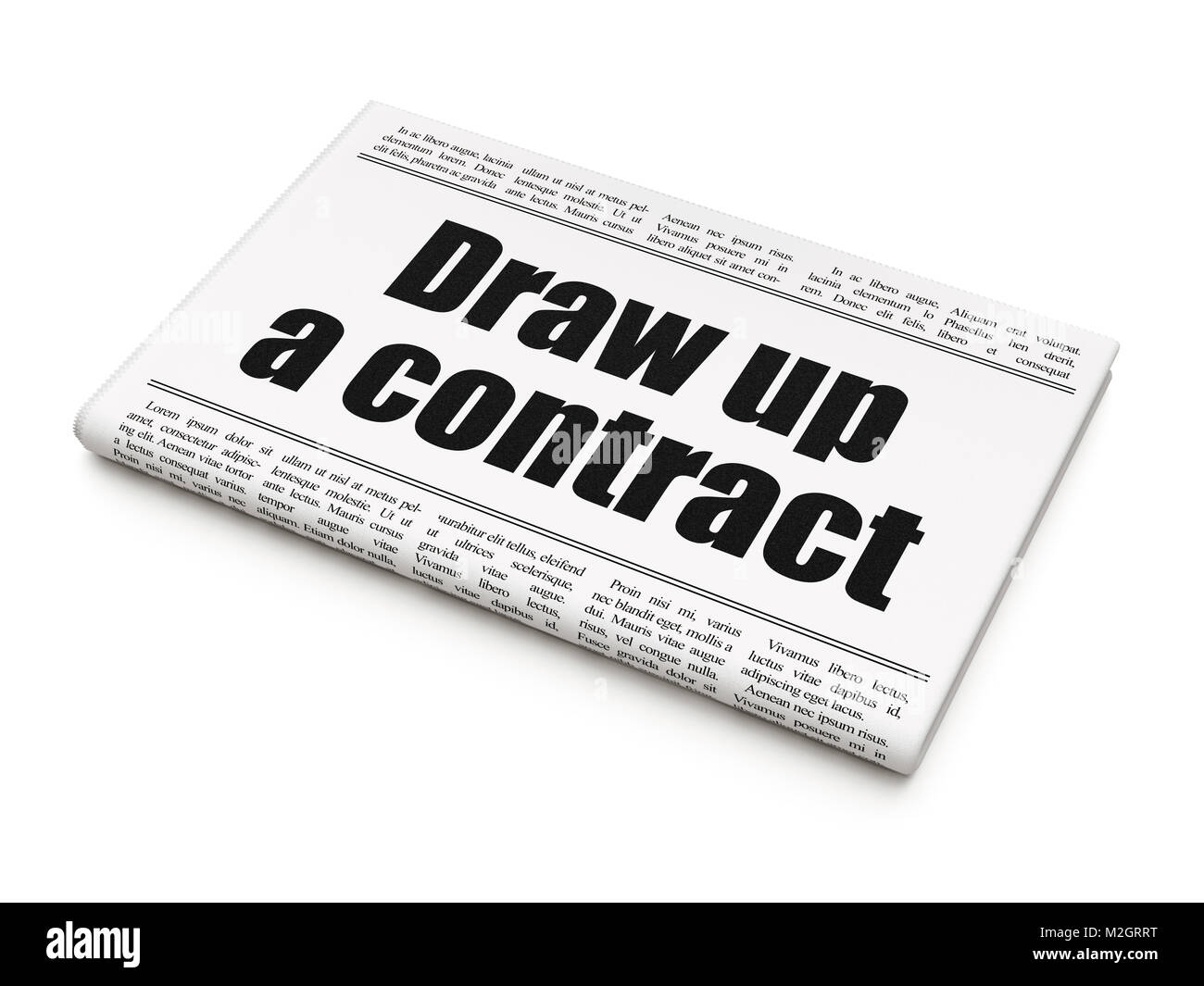 Law Concept Newspaper Headline Draw Up A Contract Stock Photo Alamy