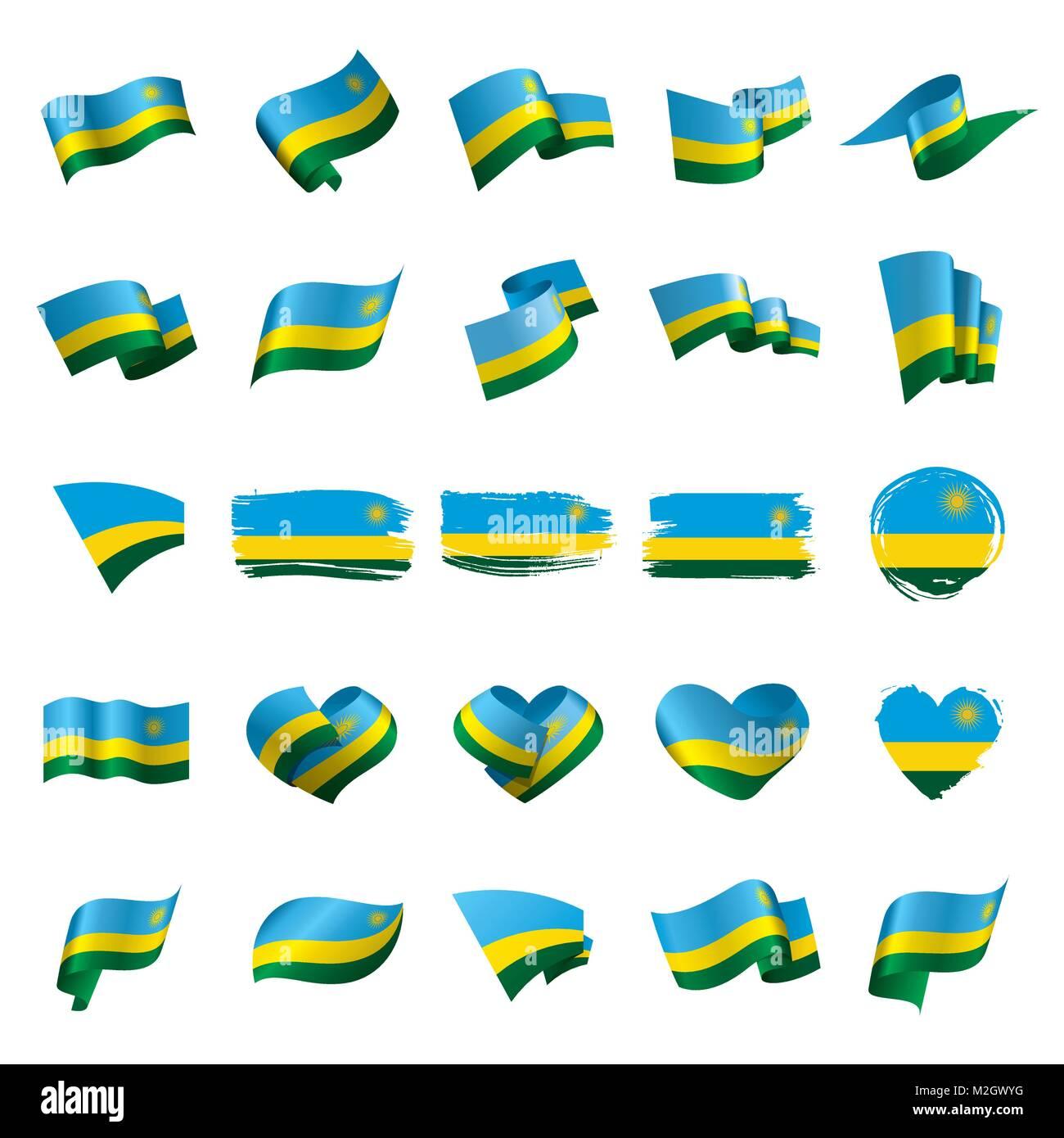 Rwanda flag, vector illustration - Stock Image