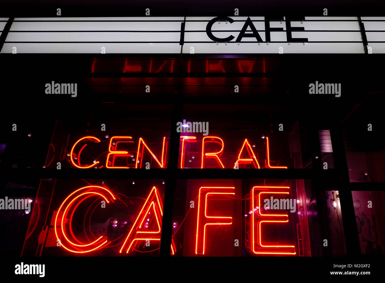 Neon Cafe Sign outside Picturehouse Central in London - Stock Image