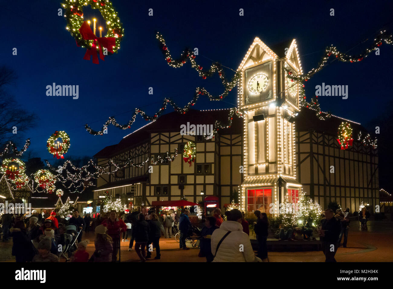 USA Williamsburg VA Busch Gardens Theme park in winter Christmas ...