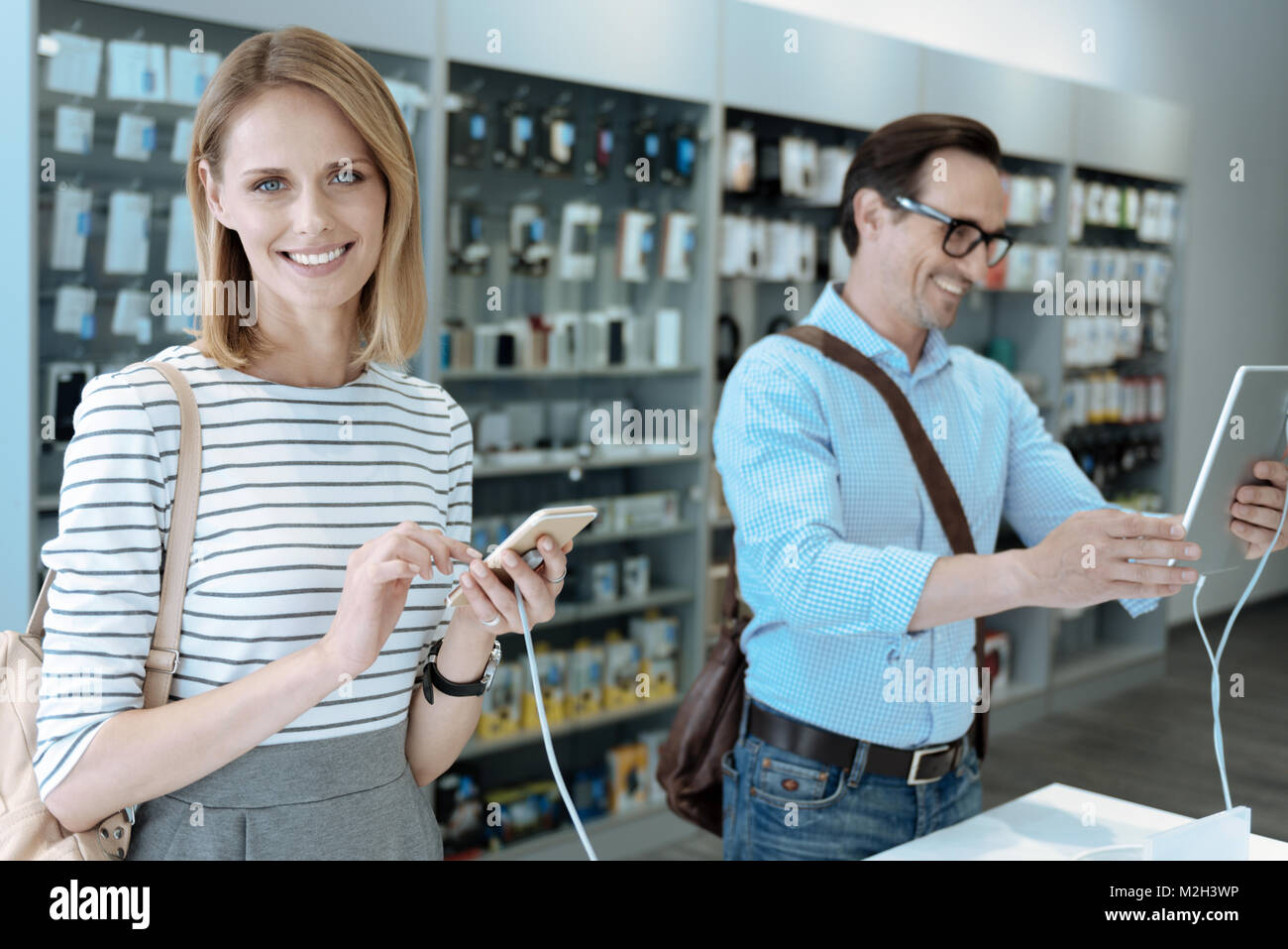 Amazing female vising new store - Stock Image
