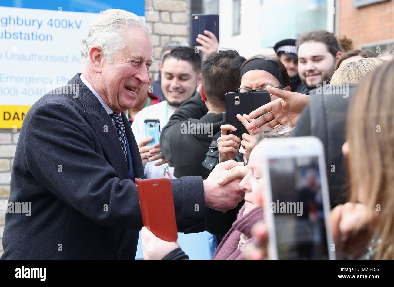 The Prince of Wales meets members of the public during the official opening of The National Grid's London Power - Stock Image