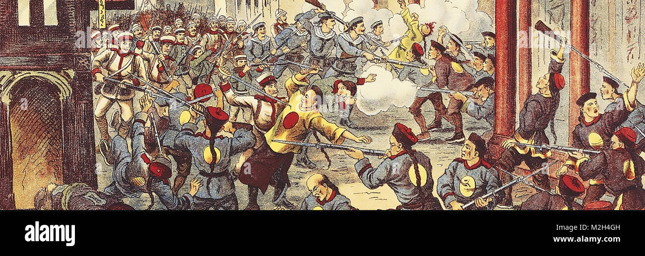 BOXER REBELLION 1899-1901. Soldiers from the Eight Nation Alliance at left attack Boxer troops. - Stock Image