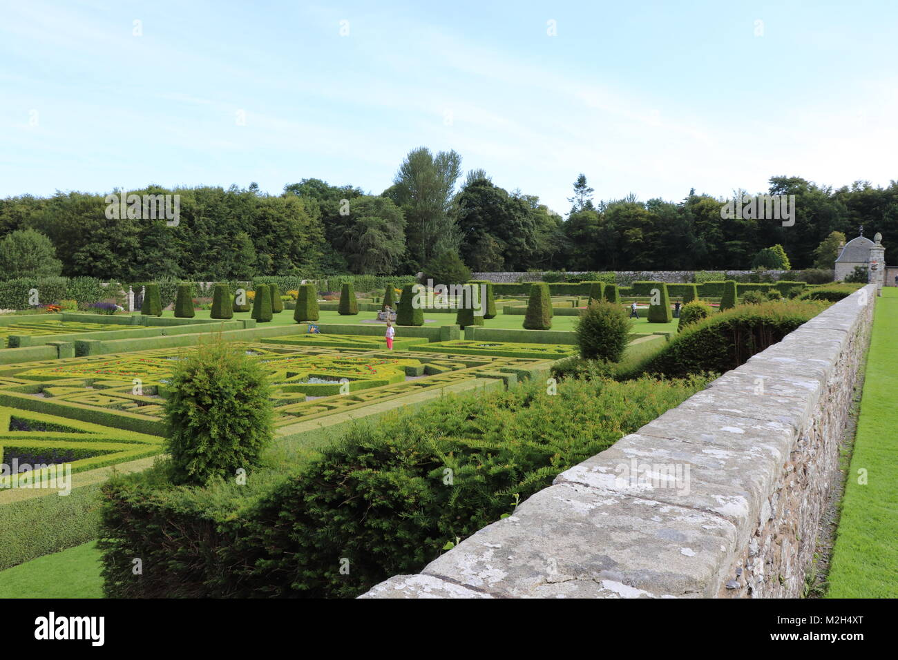 Flowers, plants, ornamental features in Pitmedden Garden, near Ellon, Aberdeenshire, Scotland UK - Stock Image
