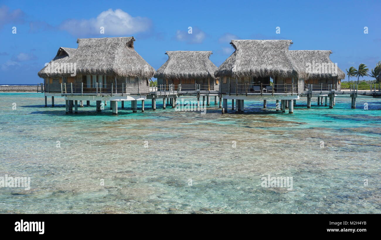 Tropical bungalows with thatched roof over the sea in the lagoon, Tikehau atoll, Tuamotus, French Polynesia, Pacific - Stock Image