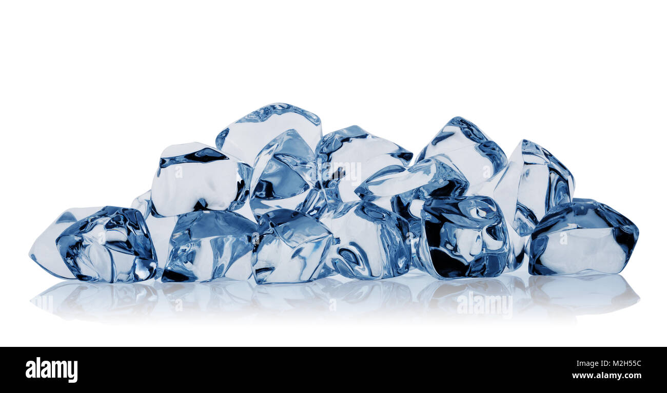 Bunch of diverse ice cubes isolated on white background. Toning in blue. - Stock Image