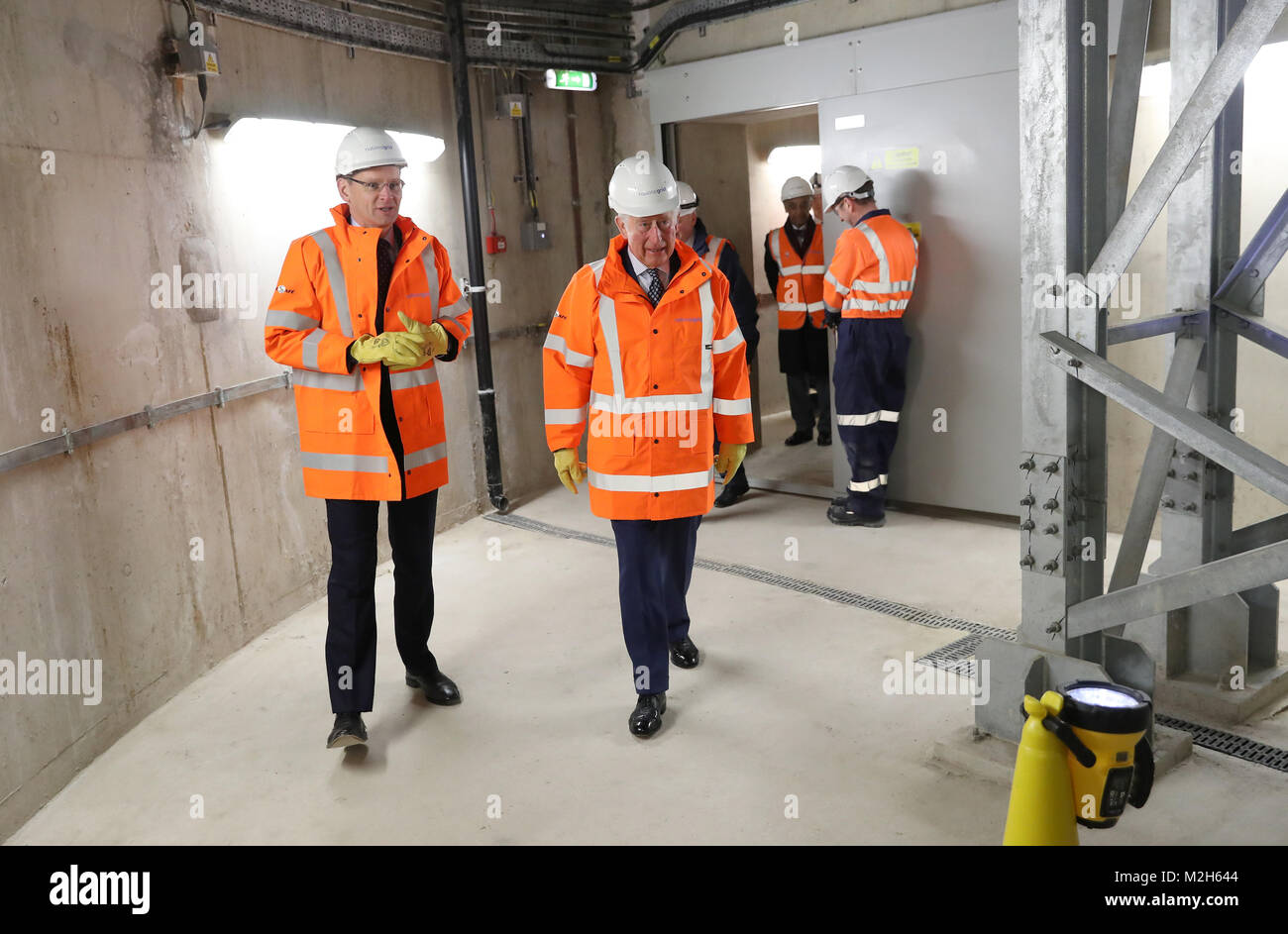 The Prince of Wales (centre) during the official opening of The National Grid's London Power Tunnels project, - Stock Image