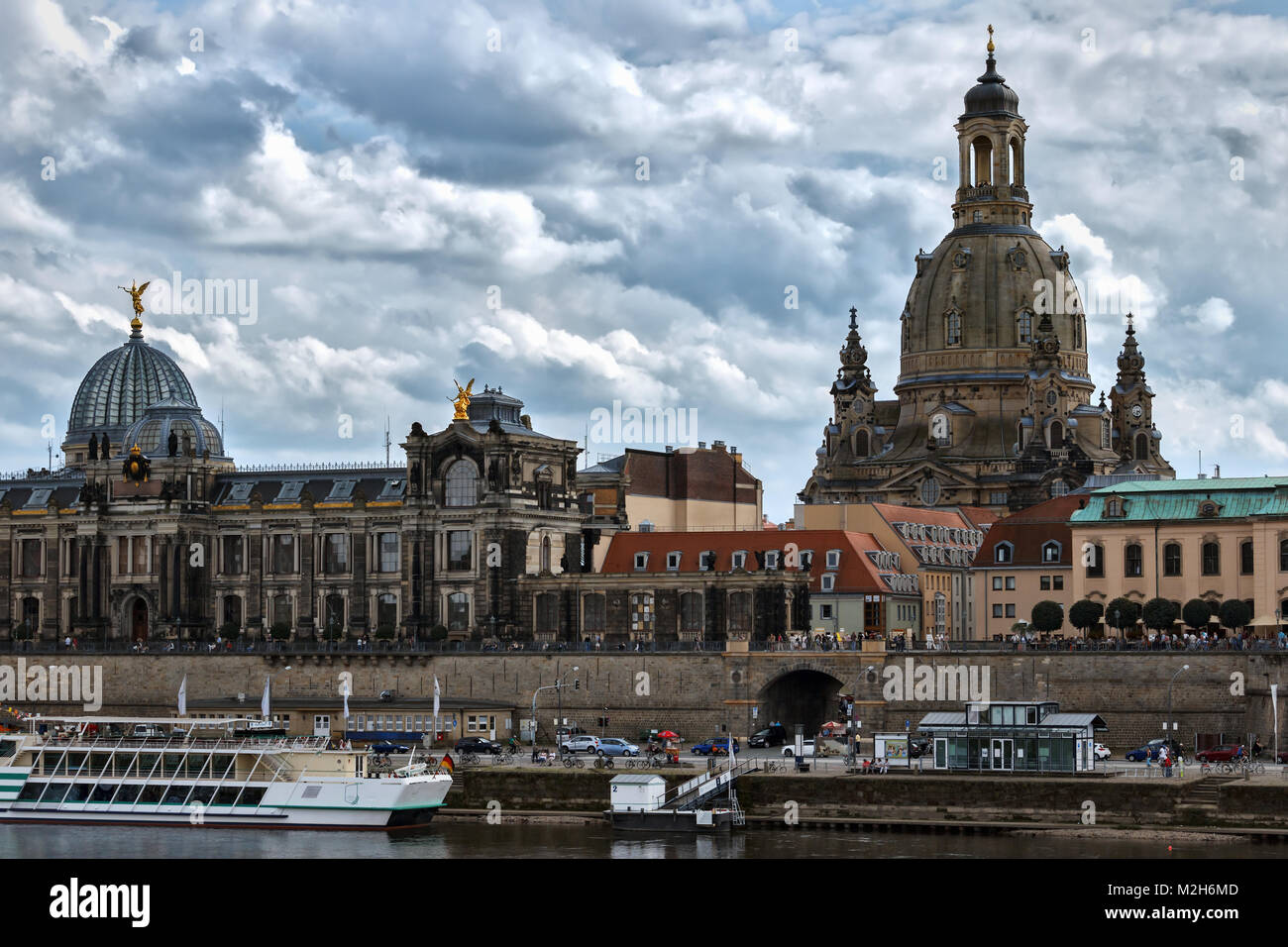 View of the historical centre of Dresden across river Elbe. - Stock Image