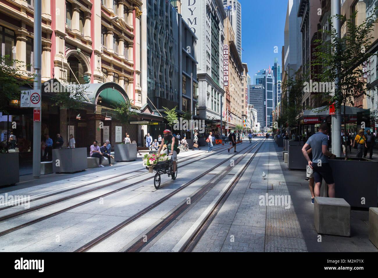 The new light railway system in progress, George Street, Sydney. - Stock Image