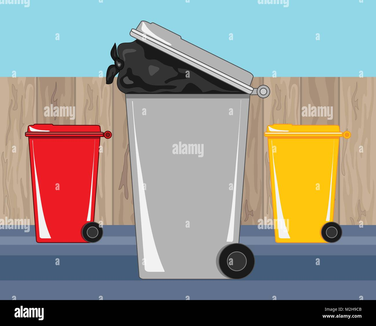 a vector illustration in eps format of waste and recycling bins in a back yard with a wooden fence and a blue sky - Stock Vector