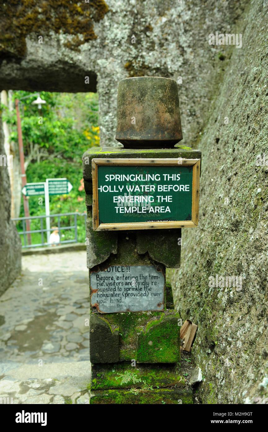Sign at entrance to Pura Gunung Kawi temple, Bali, Indonesia Stock Photo