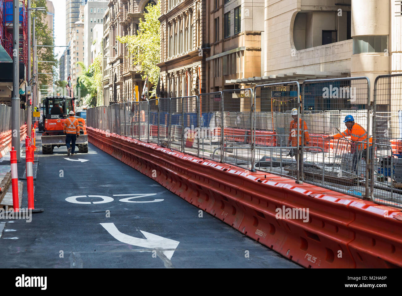 The new light railway system in progress, George Street, Sydney. - Stock Image