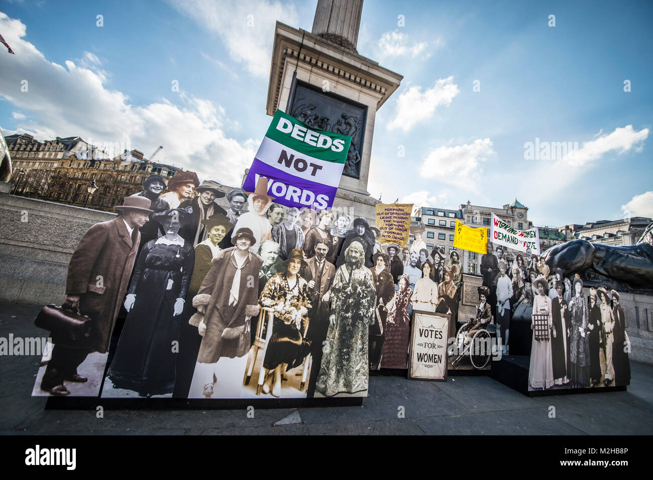 A montage of influential women in the suffrage struggle, in Trafalgar Square part of Sadiq Khan's #BehindEveryGreatCity - Stock Image