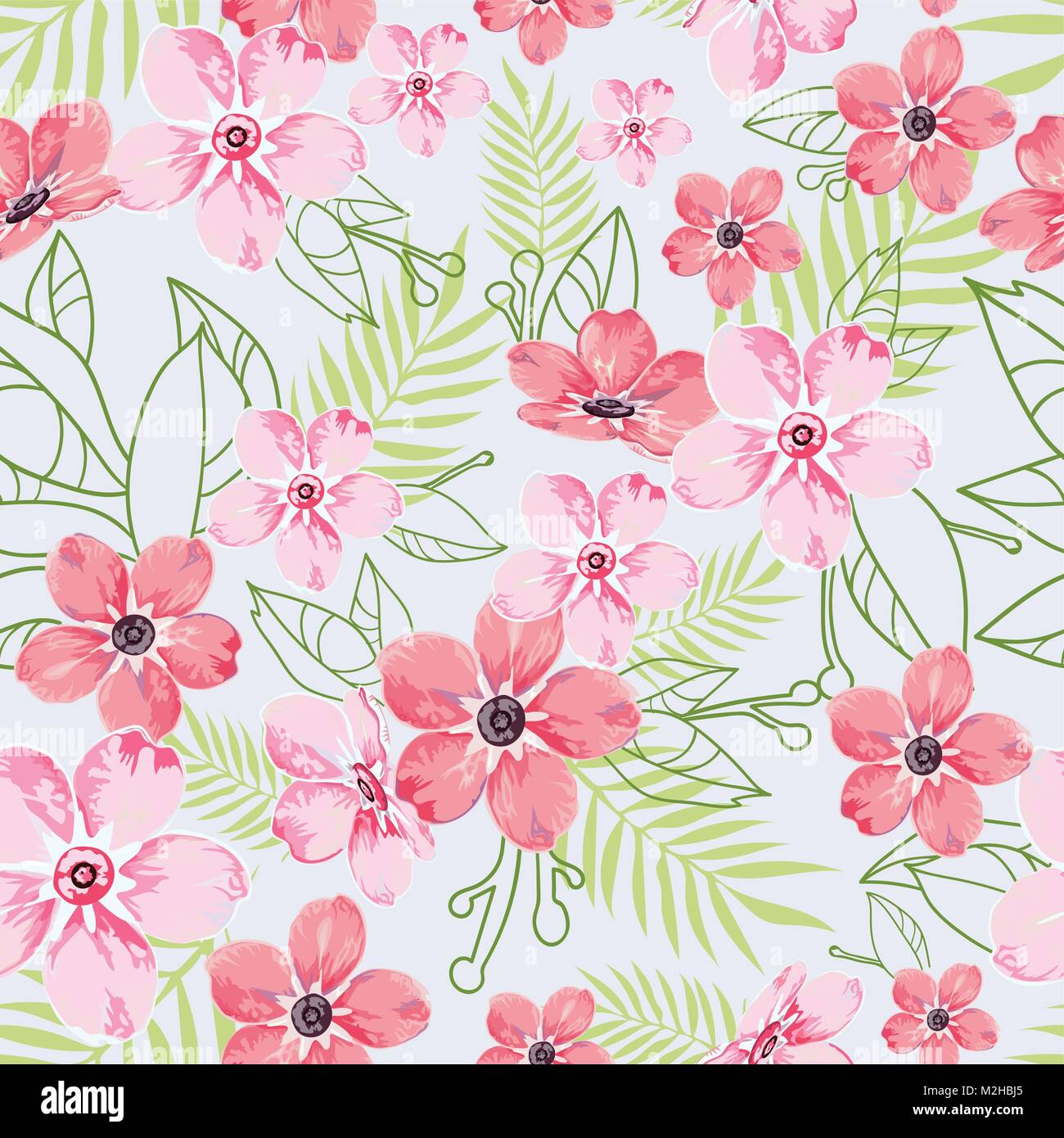 Seamless Floral Pattern, Background In Light Blue With