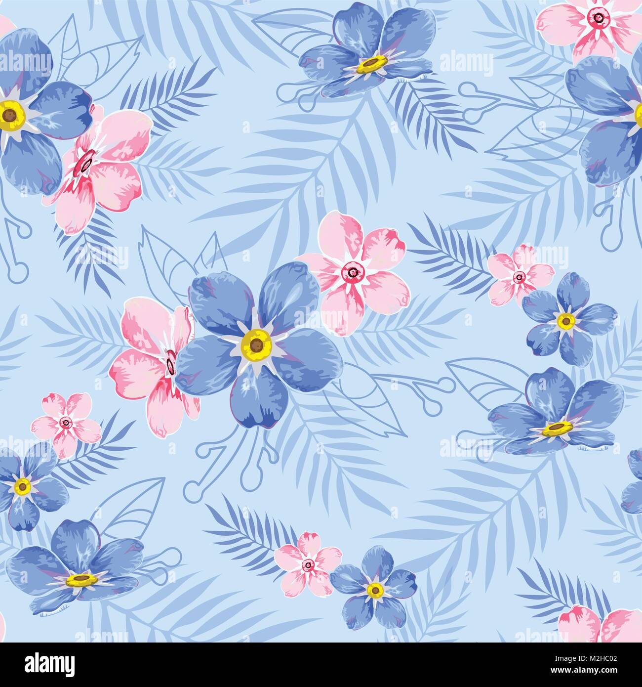 Seamless Floral Pattern Background In Blue With Blue And Pink