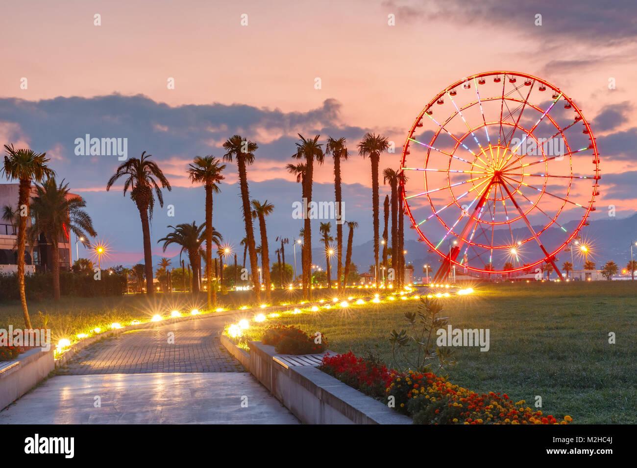 Ferris wheel on Batumi Seafront Promenade, Georgia - Stock Image