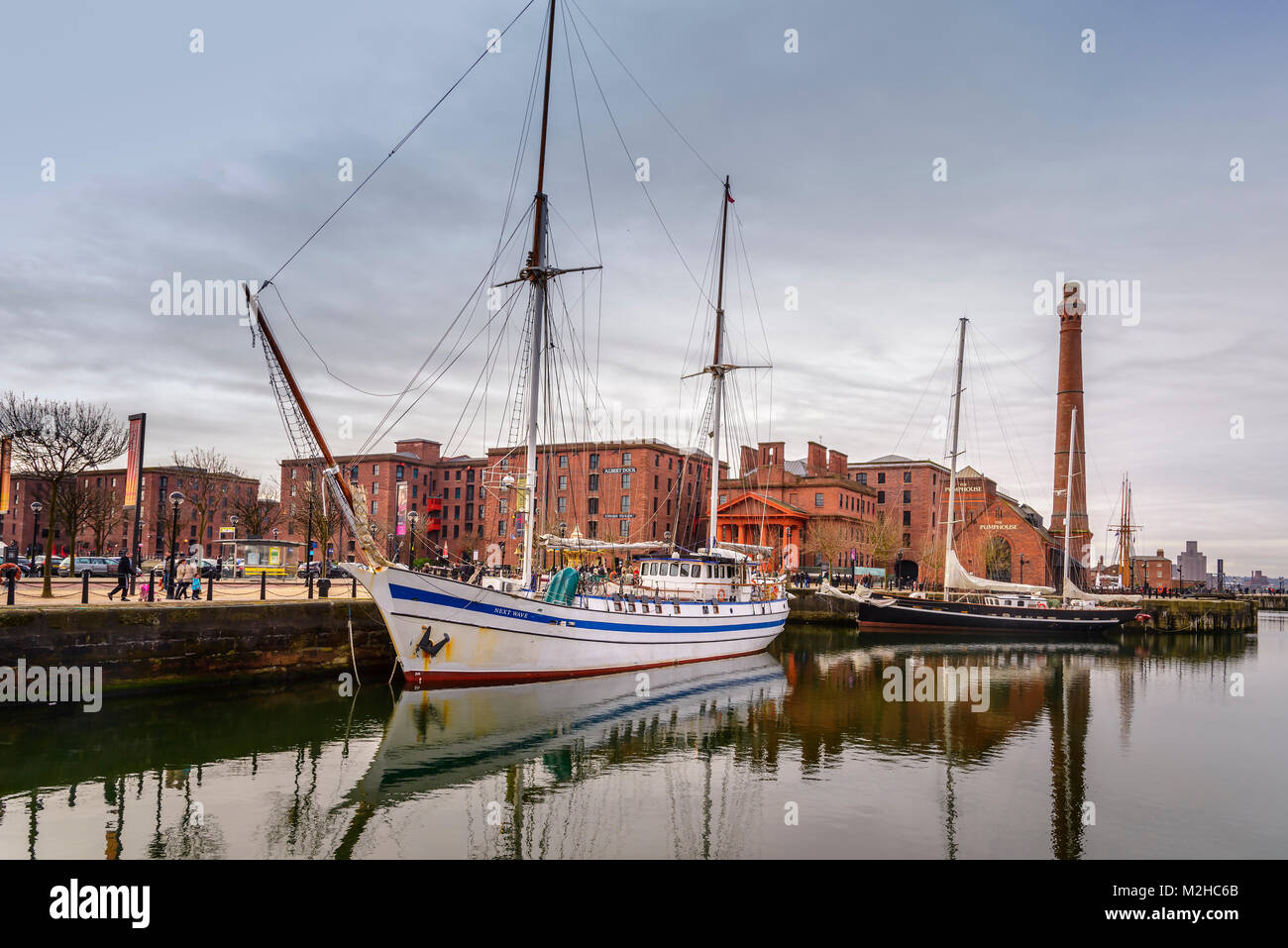 Sailing ships berthed in the Canning dock part of the Royal Albert Dock complex at Liverpool pierhead.L eft. Next - Stock Image