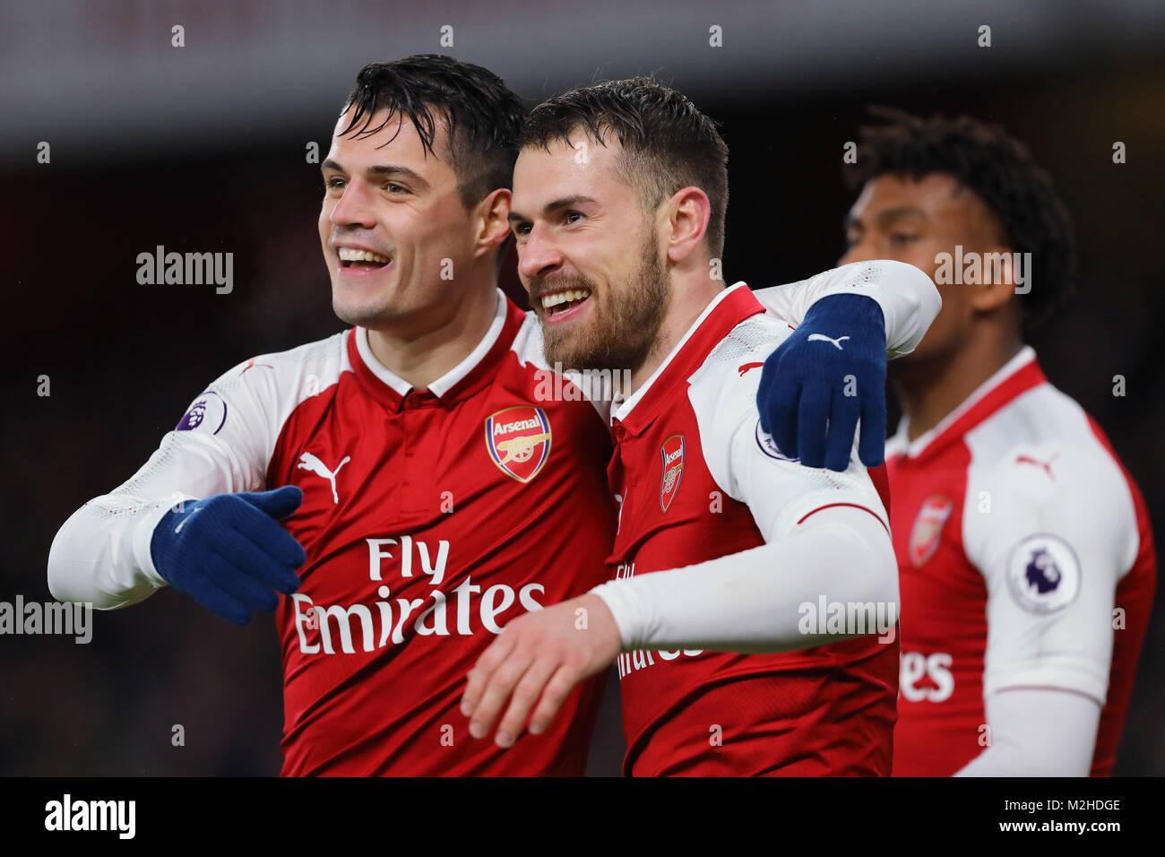 Aaron Ramsey (right) and Granit Xhaka (left) of Arsenal - Arsenal v Everton, Premier League, Emirates Stadium, London, - Stock Image