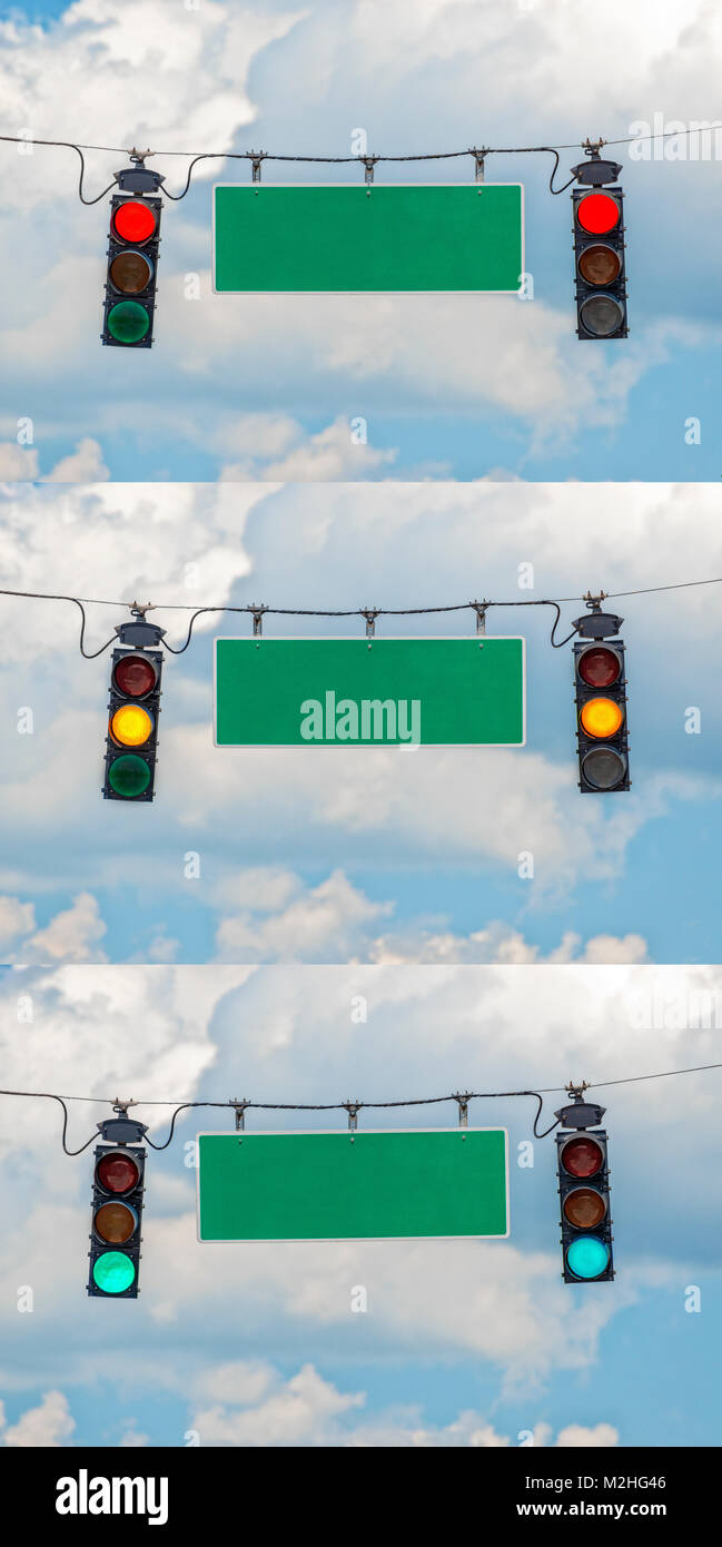Vertical shot of three different pictures put together of red, yellow, and green traffic lights with a blank street - Stock Image