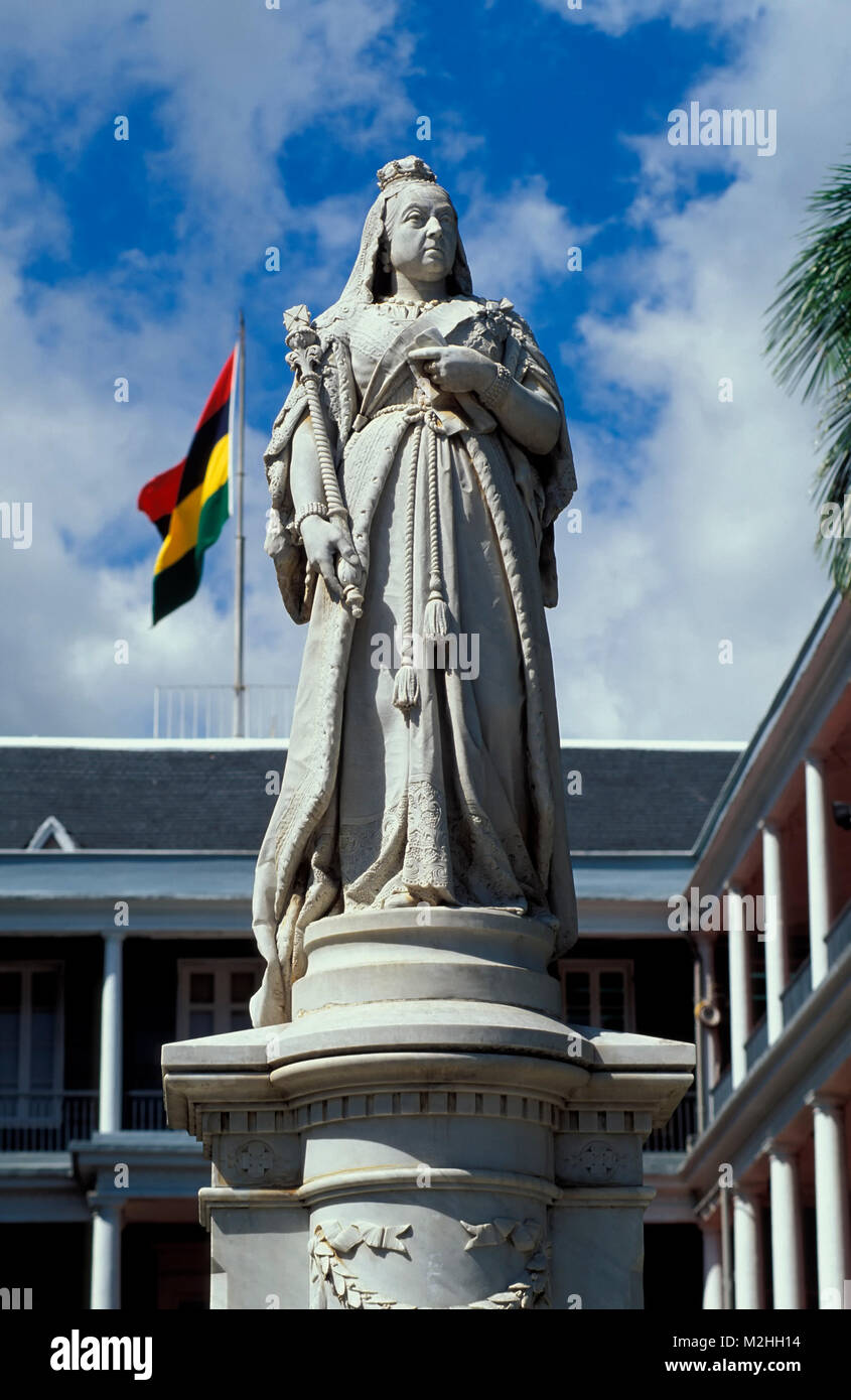 Port Louis, queen Victoria monument , Gouvernment house, Mauritius Stock Photo