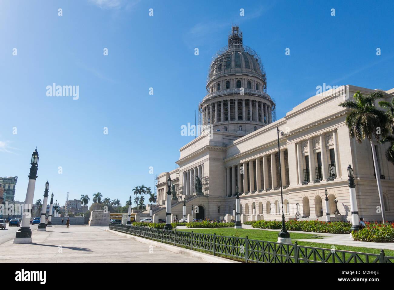 HAVANA, CUBA - JANUARY 16, 2017: Famous National Capitol (Capitolio Nacional) building. The National Capitol Building Stock Photo