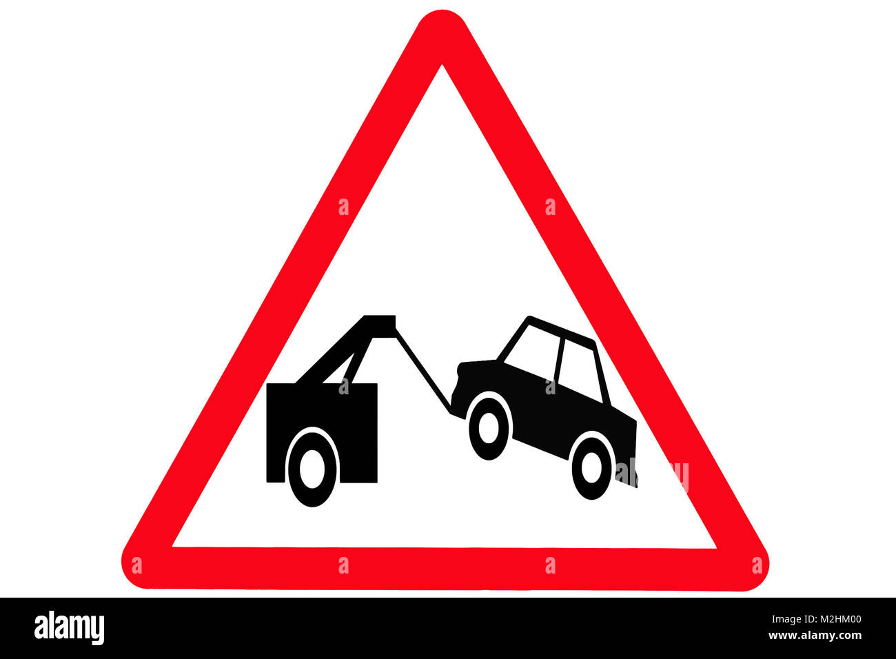 Triangular warning sign for vehicle towing - Stock Image
