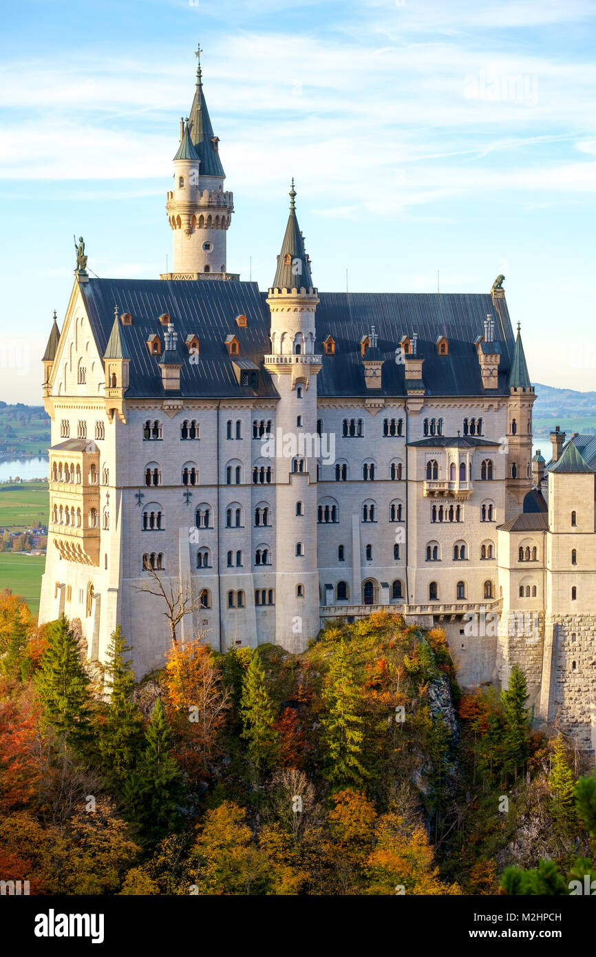 Beautiful view of the Neuschwanstein castle in autumn in Bavaria, Germany - Stock Image