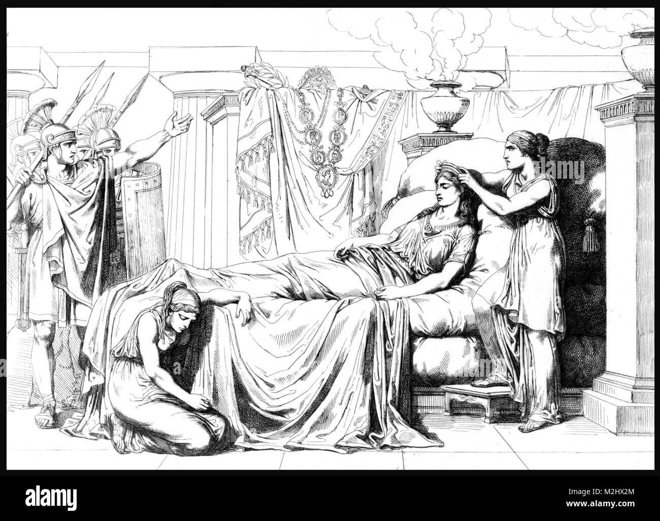 Death of Cleopatra, Queen of Egypt, 30 BC - Stock Image