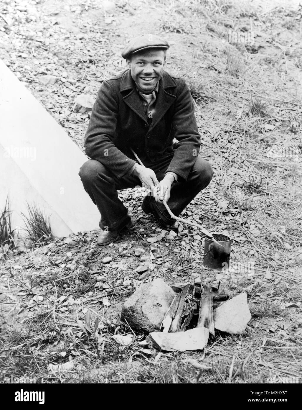 Hobo Cooking Meal, 1935 - Stock Image