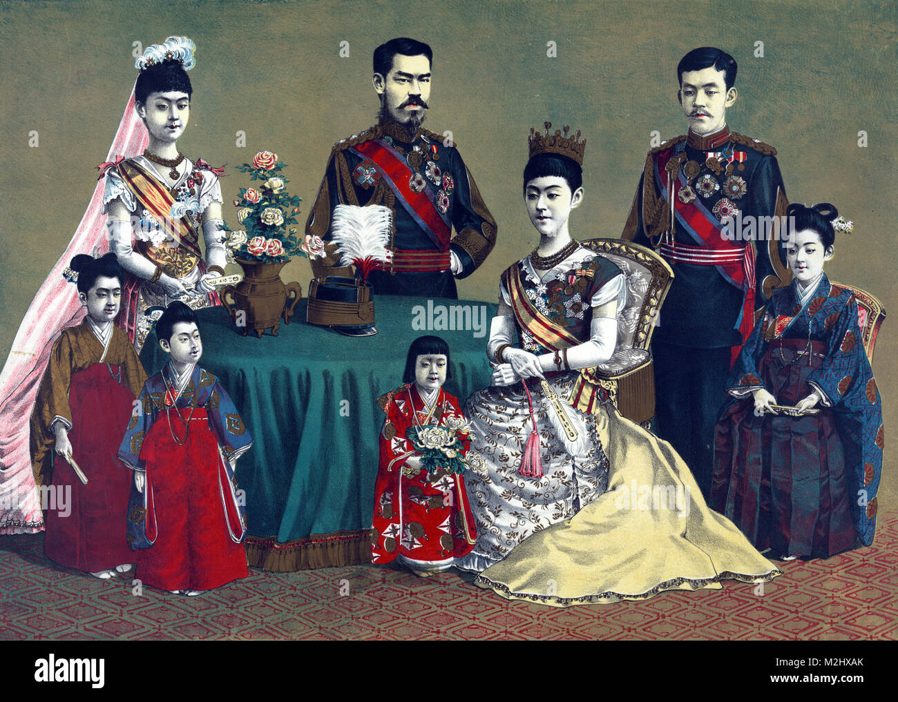 Meiji, Emperor of Japan and the Imperial Family, 1900 - Stock Image
