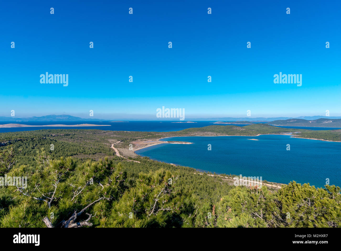 View from famous Devil's feast (seytan sofrasi) height at Ayvalik, Turkey - Stock Image