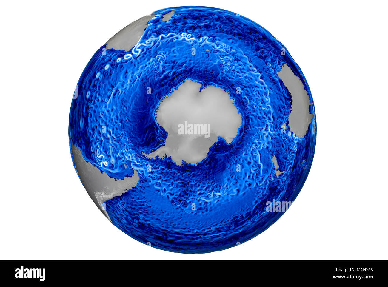 Global Ocean Simulation, Currents and Eddies, 2015 - Stock Image