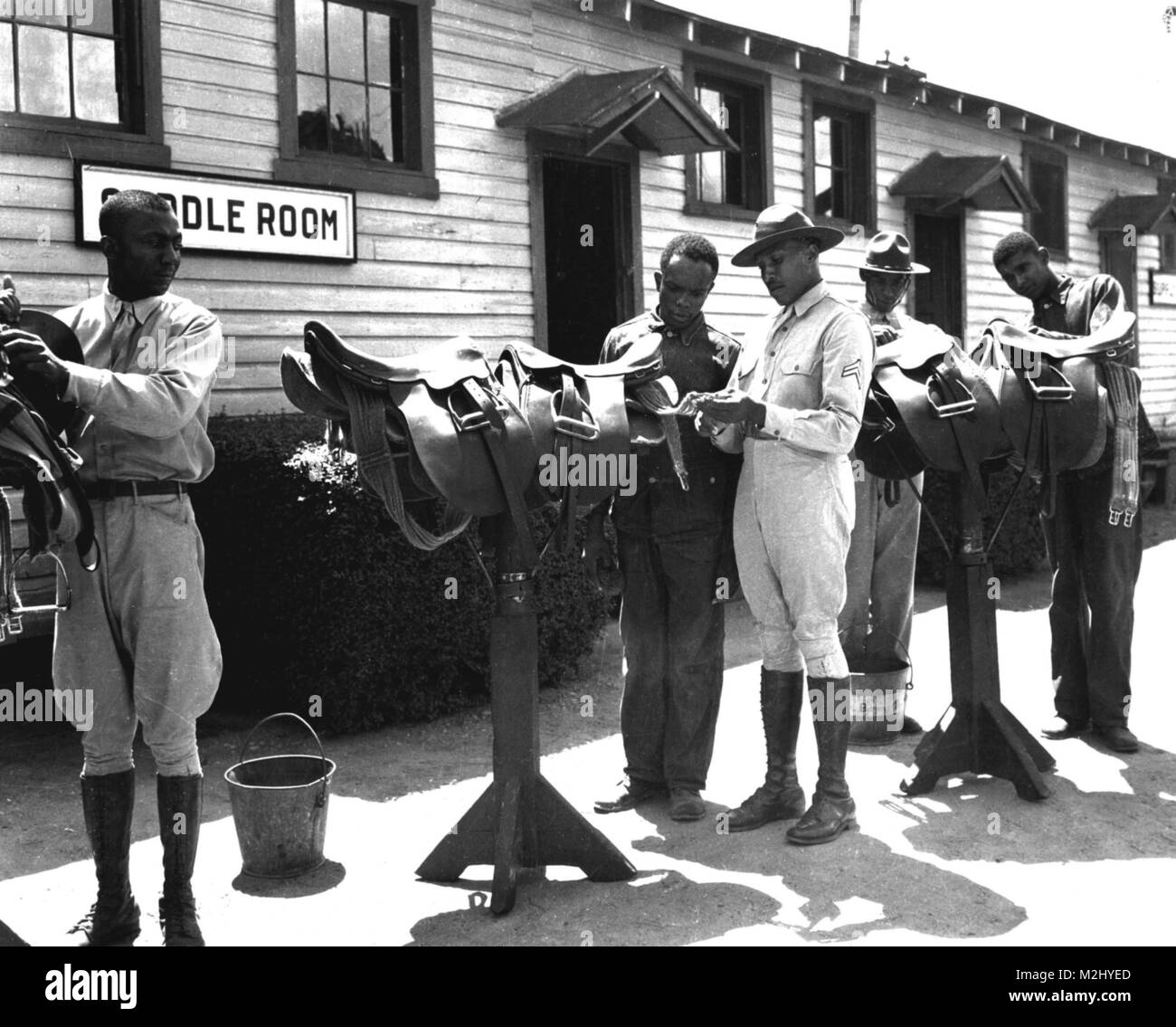 Buffalo Soldiers, Infantry School Stables, 1941 - Stock Image