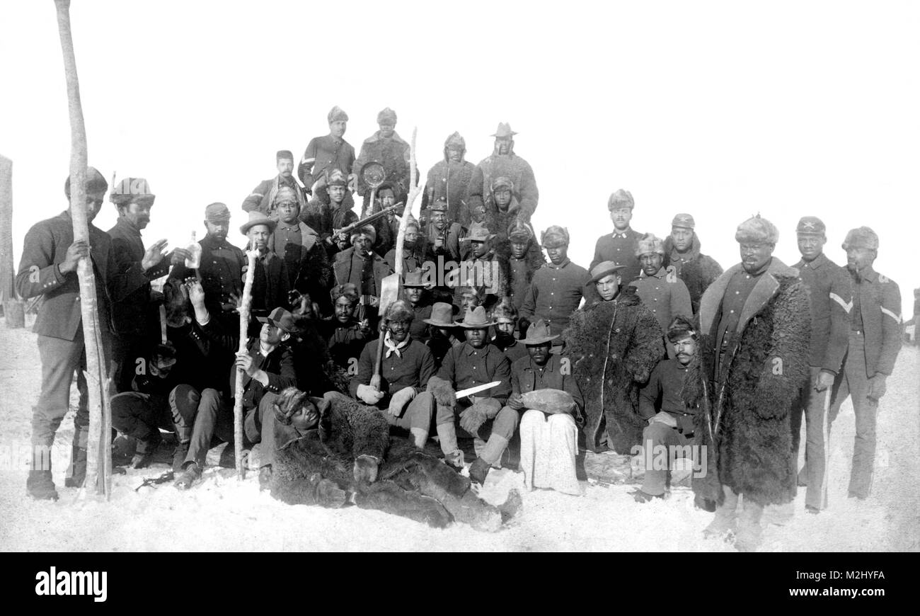 Buffalo Soldiers, 25th Infantry Regiment, 1890 - Stock Image