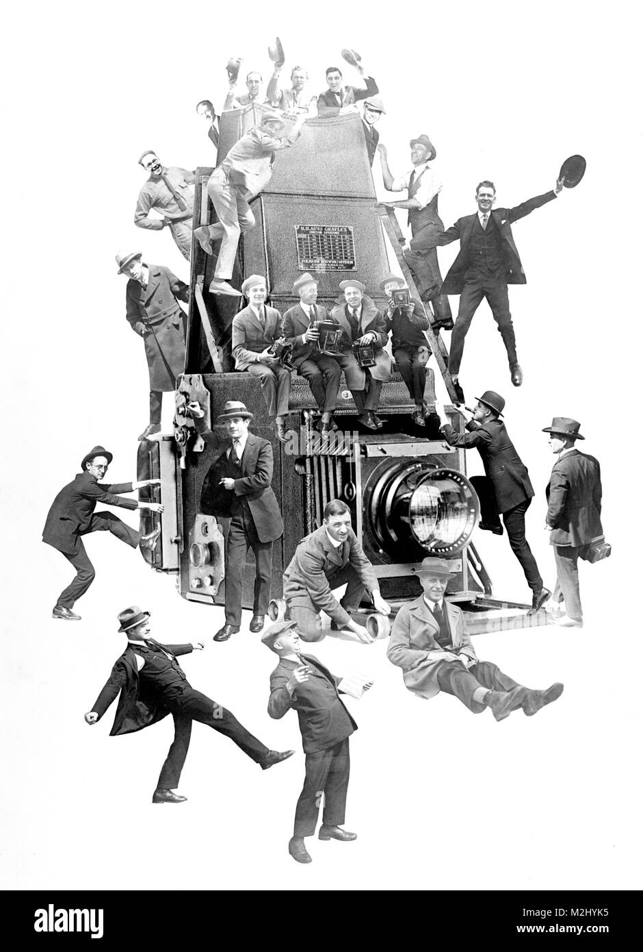 Photomontage of Photographers and Camera, 1910s - Stock Image