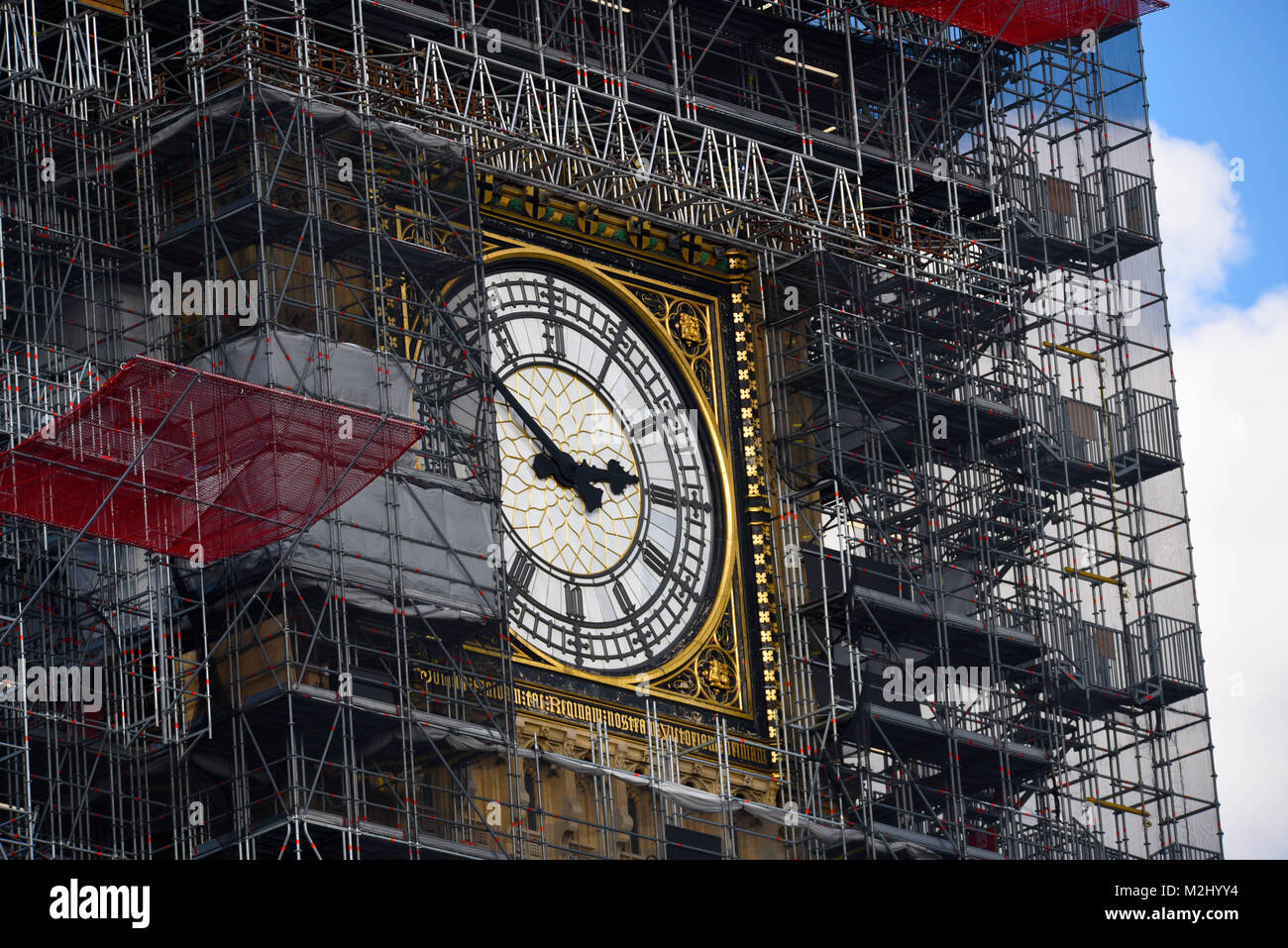 Scaffolding enveloping Big Ben Elizabeth Tower Palace of Westminster Houses of Parliament for restorations renovations - Stock Image