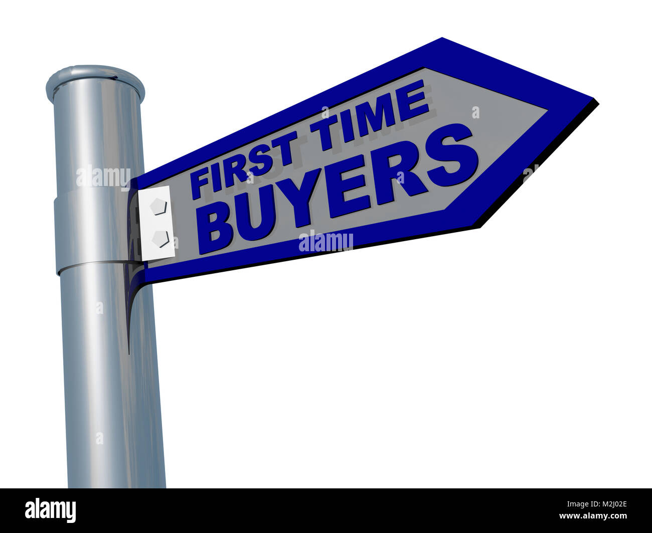 first time buyers blue road sign isolated in white background- 3d rendering - Stock Image