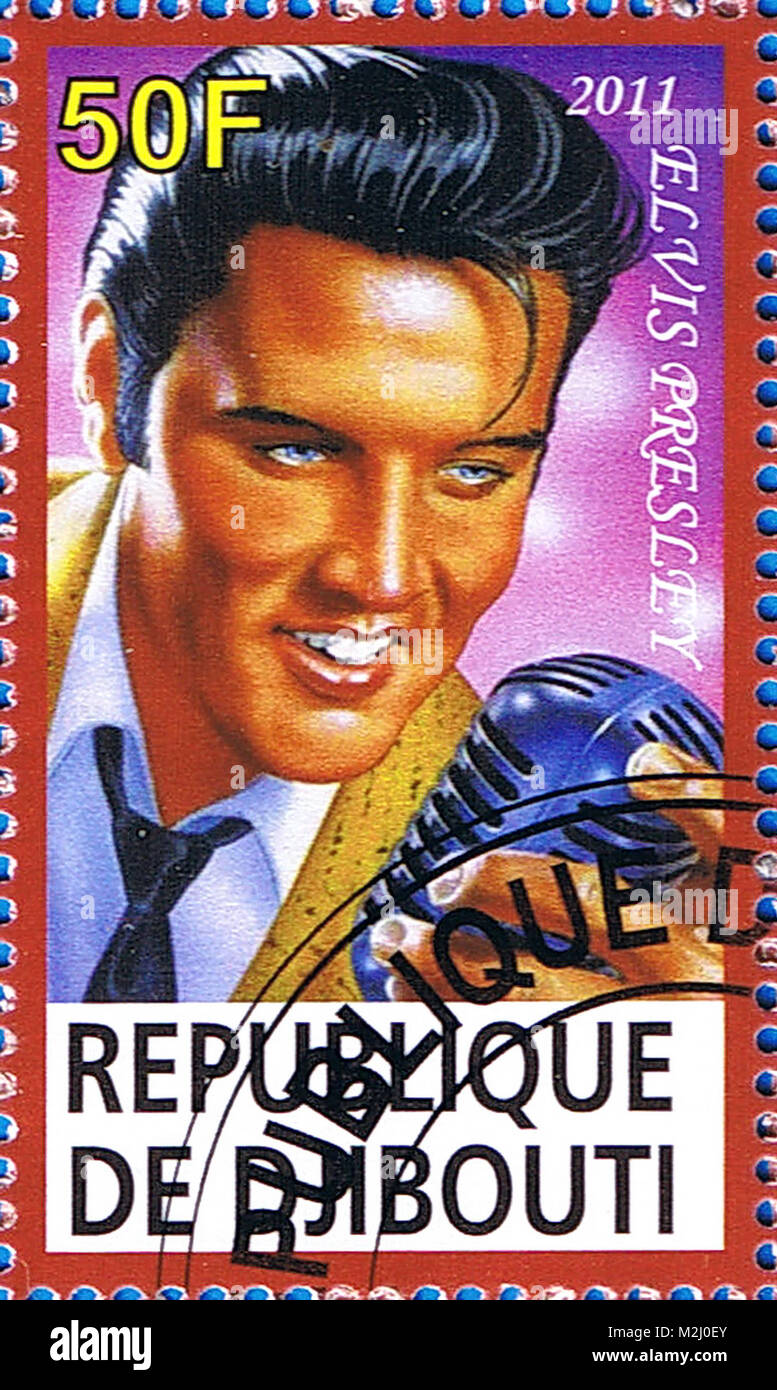 DJIBOUTI - CIRCA 2011: A postage stamp printed in the Republic of Djibouti showing an illustration of Elvis Presley - Stock Image