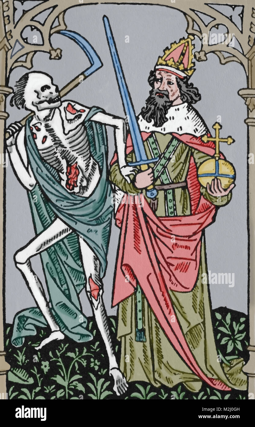 Dance of Death. Death and emperor. Printed by Antoine Verard, France, 15th century. - Stock Image