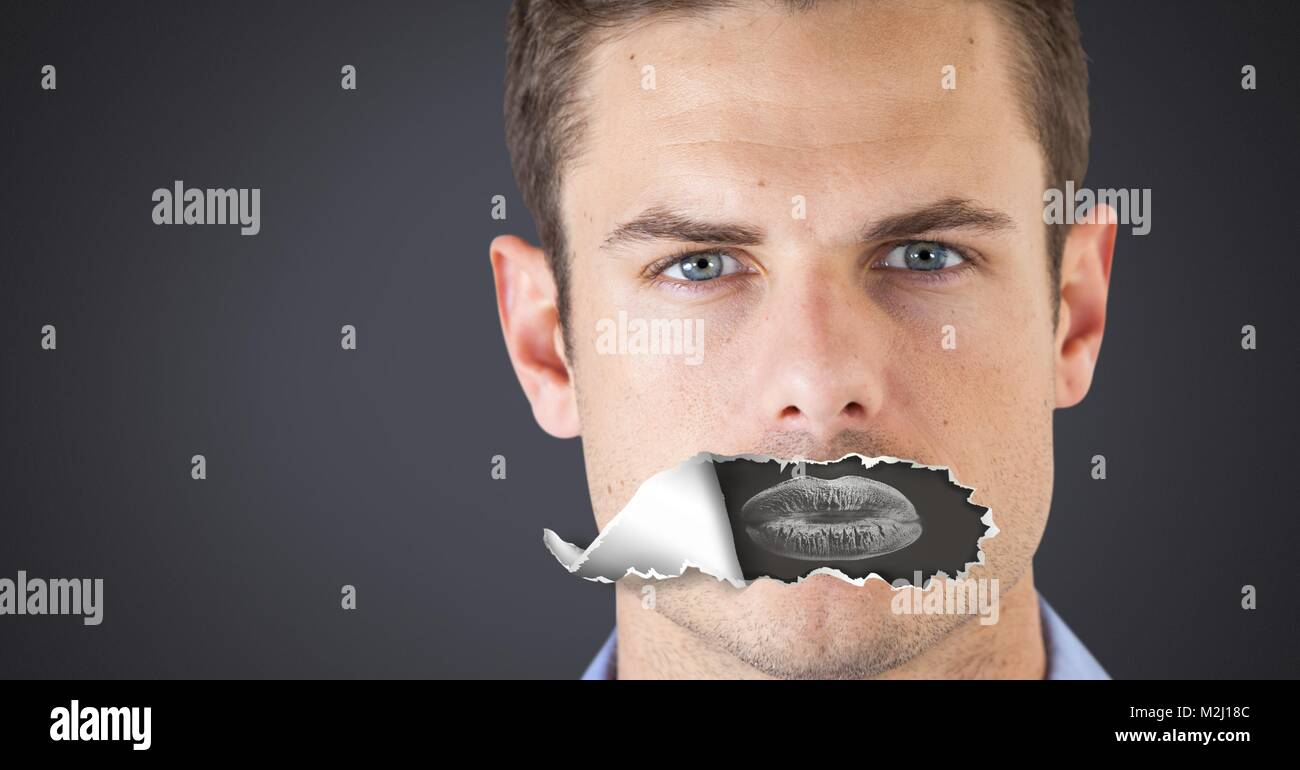 Man with torn paper on mouth and lips negative - Stock Image