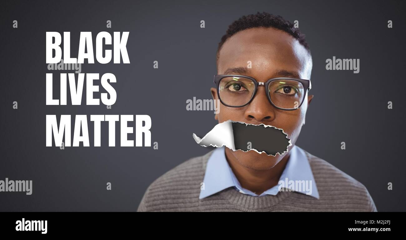 Black Lives Matter text and young man with torn paper on mouth - Stock Image