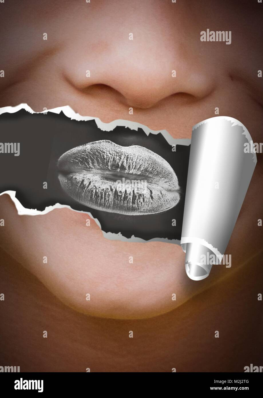 Face with torn paper on mouth and lips negative - Stock Image