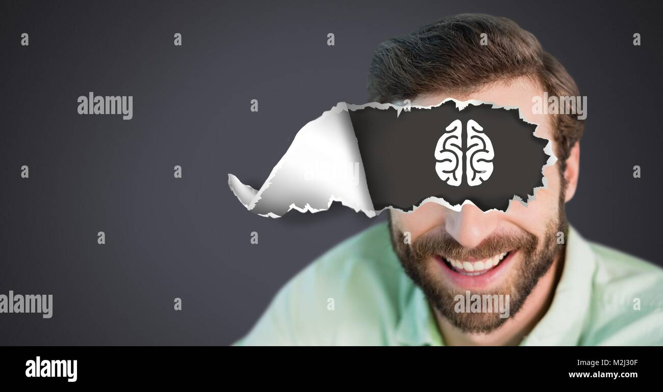 Man with torn paper on eyes and brain drawing Stock Photo