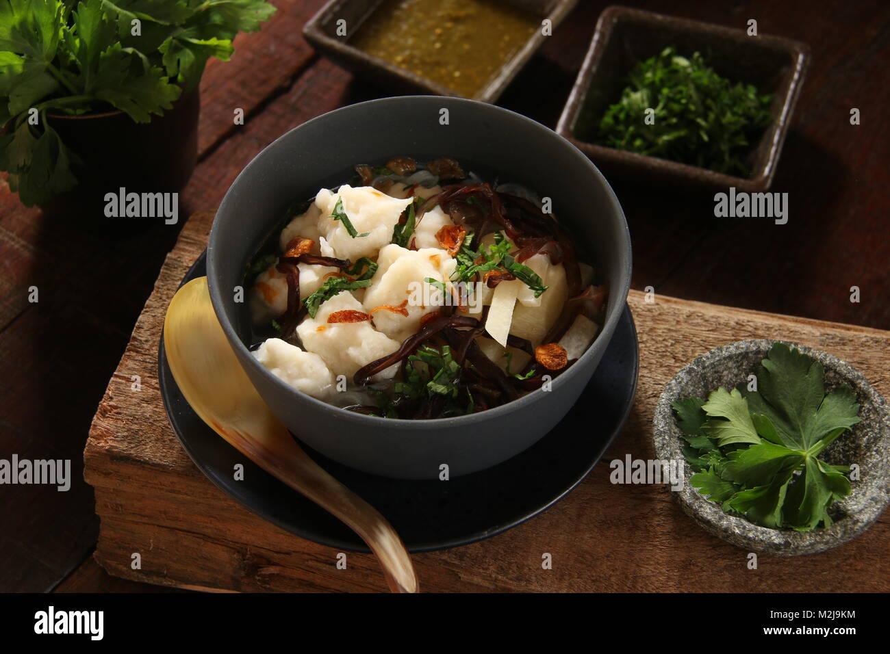 Tekwan, the Fish Ball Soup from Palembang, South Sumatra - Stock Image