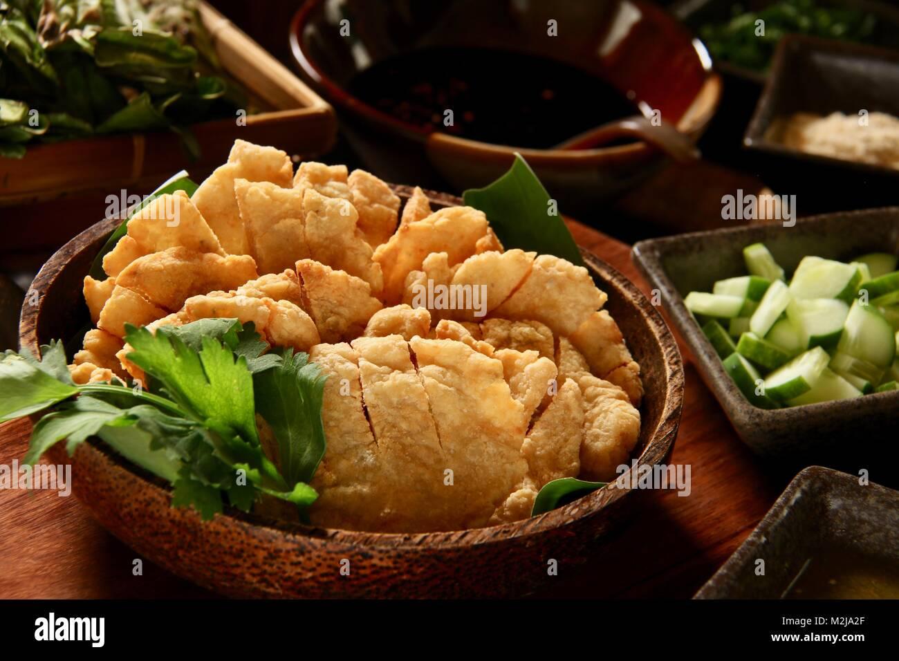 Pempek Bakar, the Char-grilled Fish Cakes from Palembang, South Sumatra - Stock Image