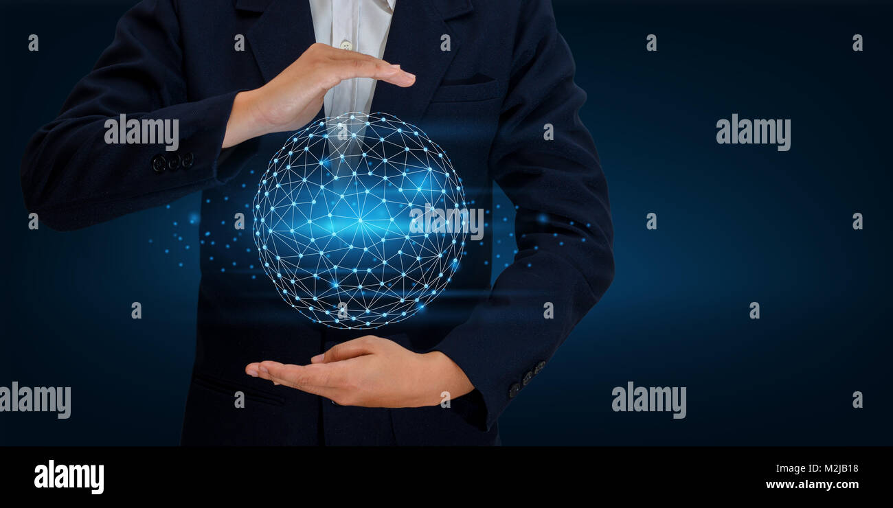 Earth polygon mesh planet world map in the hands of a businessman earth polygon mesh planet world map in the hands of a businessman network technology and communication space input data gumiabroncs Image collections